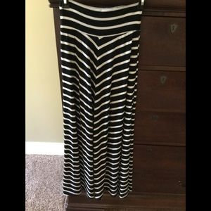 Black and white striped maxi skirt